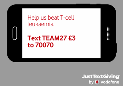 text TEAM27 £3 to 70070 to donate